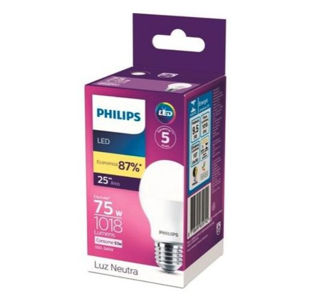 Lâmpada Led Bulbo Philips 9,5w 1018lm 4000k Bivolt