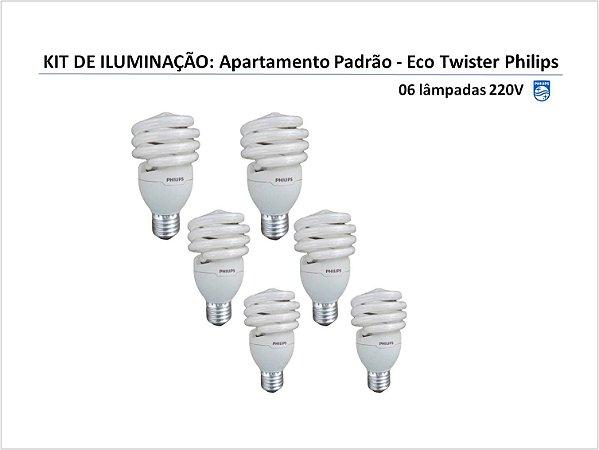 KIT DE ILUMINAÇÃO APARTAMENTO: 06 lâmpadas (branco frio) PHILIPS 220V