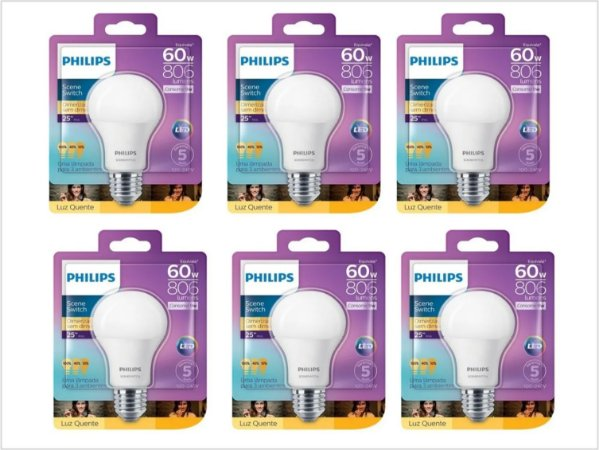 Kit 6 Lâmpadas Led Bulbo 9w Dimerizável Philips 3000k Quente