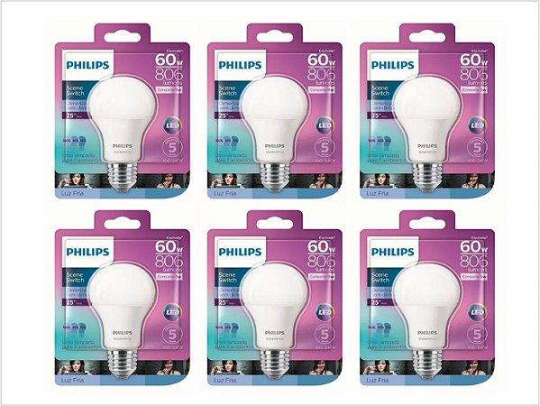 Kit 6 Lâmpadas Led Bulbo 9w Dimerizável Philips 6500k Frio
