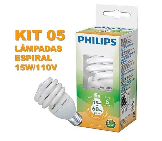Kit 05 Lâmpadas em Espiral 15W E27 Branco Quente 110 V PHILIPS