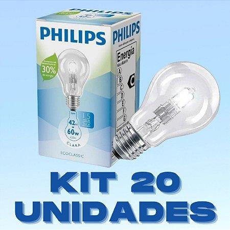 Kit 20 Lâmpadas Halogenas 42W E27 Branco Quente  220V PHILIPS
