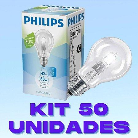 Kit 50 Lâmpadas Halogenas 42W E27 Branco Quente  220V PHILIPS