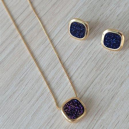 Conjunto brinco e colar DRUSA metalizada azul/roxo