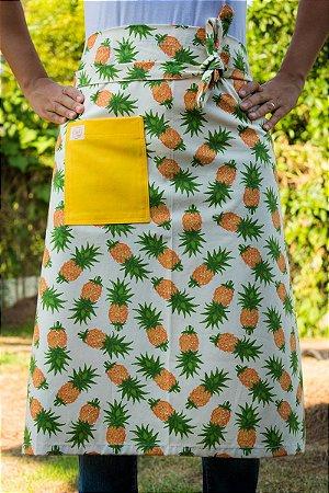Avental de Cintura Abacaxi com Bolso Amarelo
