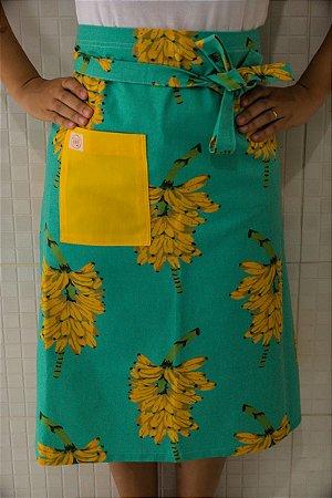 Avental de Cintura Cacho de Banana Fundo Azul