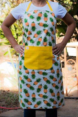 Avental de Corpo Abacaxi Com Bolso Amarelo