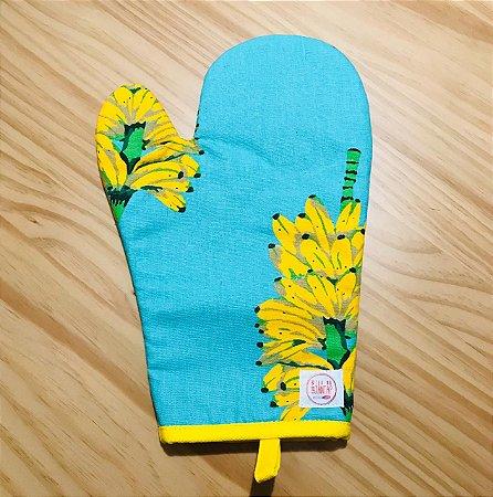 Luva de Forno Cacho de Banana Fundo Azul