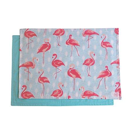 Jogo Americano Dupla Face Flamingos - Kit com 2 peças