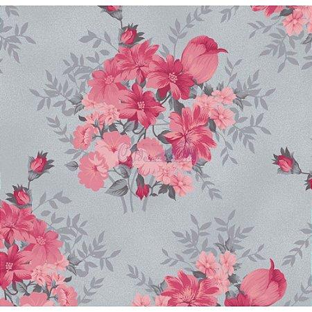 Tricoline Floral Amor Perfeito (Cinza com Rosa), 100% Algodão, Unid. 50cm x 1,50mt