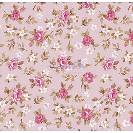 Tricoline Estampado Floral Lúcia Cor - 18 (Rosa), 100% Algodão, Unid. 50cm x 1,50mt