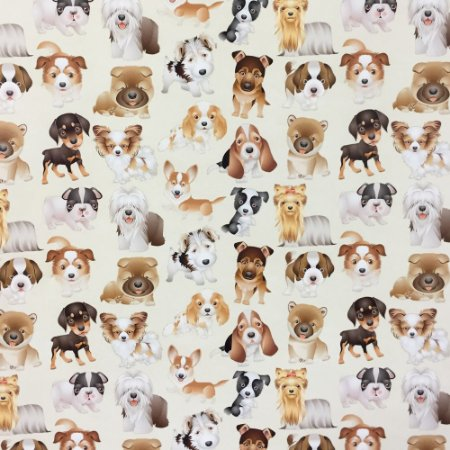 Tricoline Digital Doggies 1, 100% Algodão, Unid. 50cm x 1,50mt