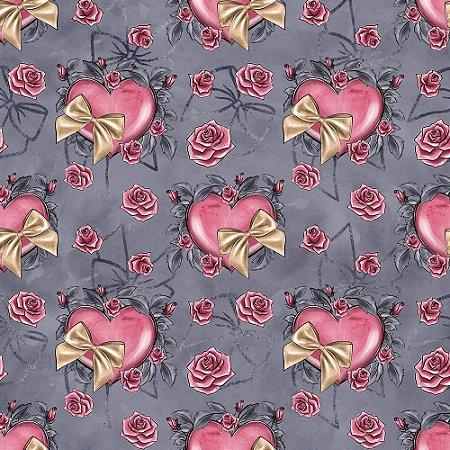 Tricoline Digital Coração e Laço, 100% Algodão, Unid. 50cm x 1,50mt