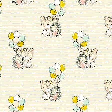 Tricoline Estampado Teddys Friends, 100% Algodão, Unid. 50cm x 1,50mt