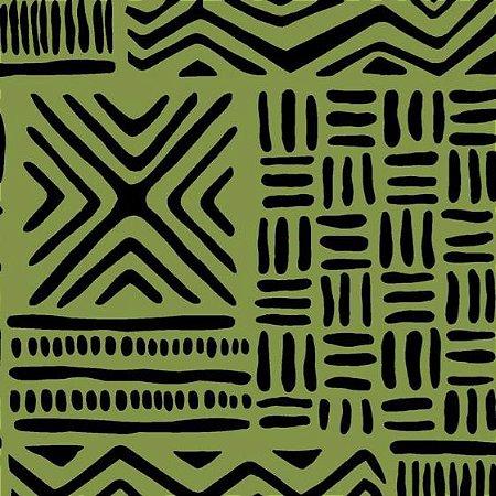 Tecido Tricoline África Verde, 100% Algodão, Unid. 50cm x 1,50mt