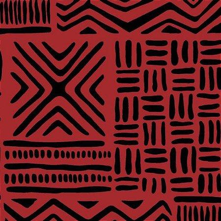 Tecido Tricoline África Vermelho, 100% Algodão, Unid. 50cm x 1,50mt
