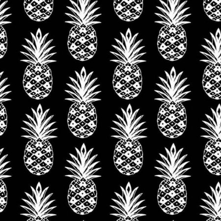 Tecido Tricoline Abacaxi Preto e Branco, 100% Algodão, Unid. 50cm x 1,50mt