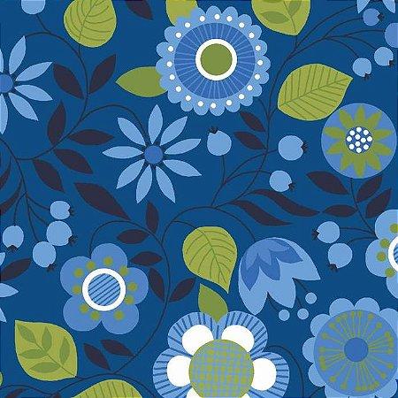 Tricoline Floral Bohêmia Fundo Azul, 100% Algodão, Unid. 50cm x 1,50mt
