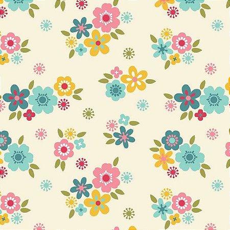 Tricoline Florescer Florzinha Fundo Claro, 100% Algodão, Unid. 50cm x 1,50mt