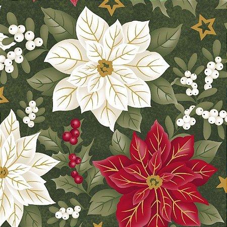 Tricoline Estampado Floral Fundo Verde - 100% Algodão, Unid. 50cm x 1,50mt