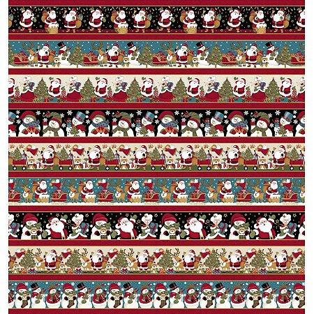 Tricoline Estampado Barras Papai Noel e Amigos - 100% Algodão, Unid. 50cm x 1,50mt