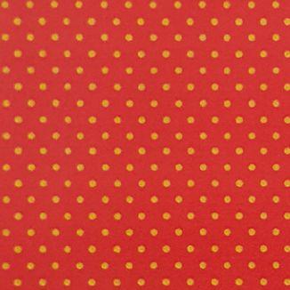 Tricoline Poá Dourado Fundo Vermelho - 100% Algodão, Unid. 50cm x 1,50mt