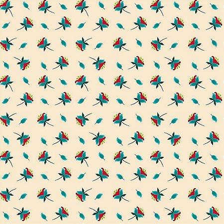 Tricoline Estampado Mini Flores Creme, 100% Algodão, Unid. 50cm x 1,50mt