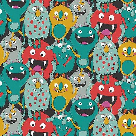Tricoline Estampado Monsters, 100% Algodão, Unid. 50cm x 1,50mt