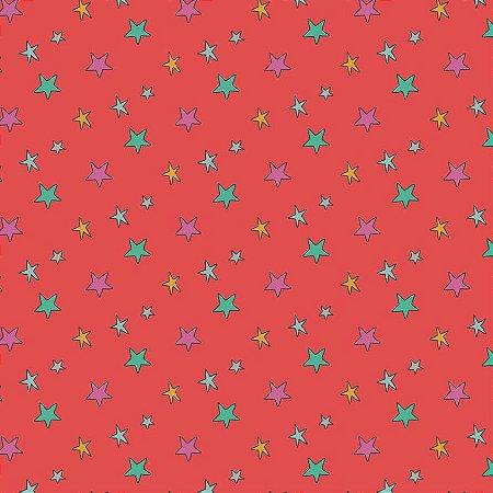 Tricoline Estampado Estrelas Monsters, 100% Algodão, Unid. 50cm x 1,50mt
