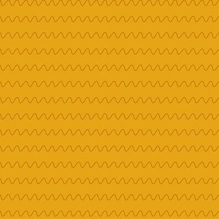 Tricoline Estampado Ondas Mostarda, 100% Algodão, Unid. 50cm x 1,50mt