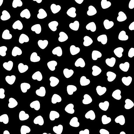 Tecido Tricoline Coração Branco Fundo Preto, 100% Algodão, Unid. 50cm x 1,50mt