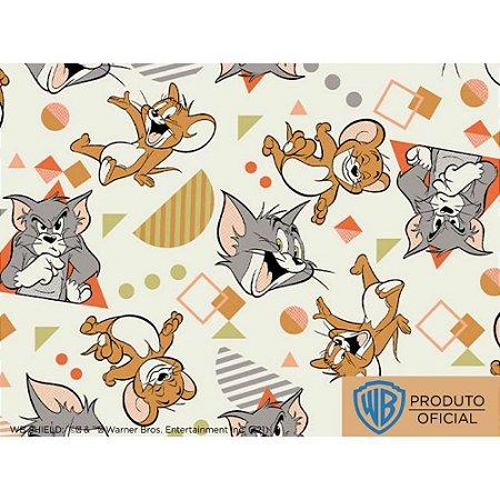 Tricoline Personagem Tom e Jerry Fundo Claro, 100% Algodão, Unid. 50cm x 1,50mt