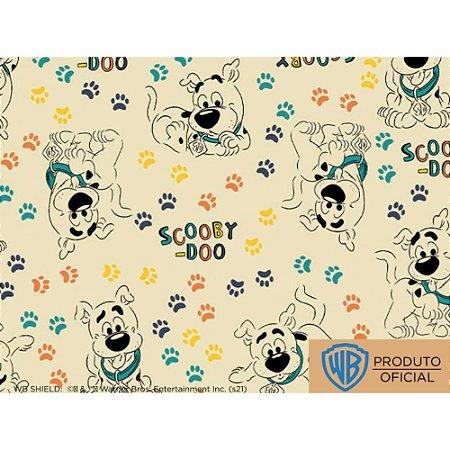 Tricoline Personagem Scooby Doo Patinhas Fundo Bege, 100% Algodão, Unid. 50cm x 1,50mt