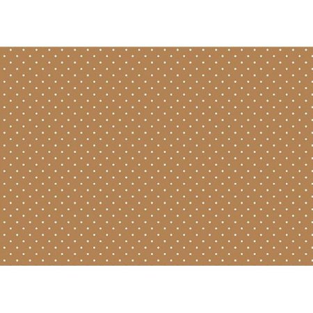 Tecido Tricoline Micro Poá Branco Fundo Caramelo, 100% Algodão, Unid. 50cm x 1,50mt