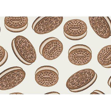 Tecido Tricoline Biscoitos Fundo Claro, 100% Algodão, Unid. 50cm x 1,50mt