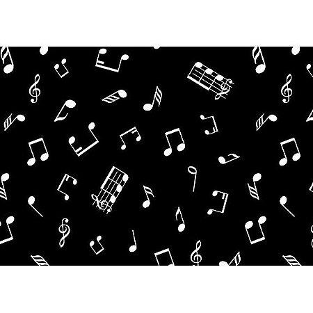 Tecido Tricoline Notas Musicais Preto, 100% Algodão, Unid. 50cm x 1,50mt