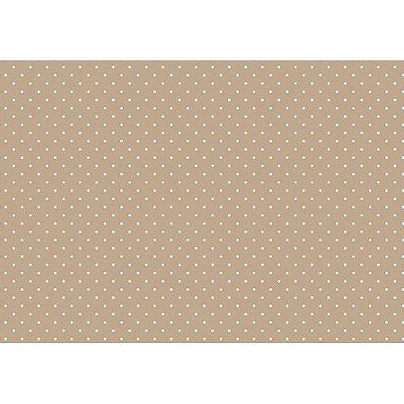 Tecido Tricoline Micro Poá Branco Fundo Bege, 100% Algodão, Unid. 50cm x 1,50mt