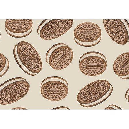 Tecido Tricoline Biscoitos Bege, 100% Algodão, Unid. 50cm x 1,50mt