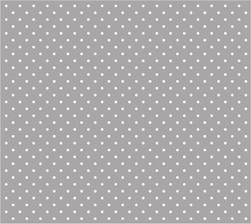 Tricoline Poá Pequeno (Branco Fundo Cinza), 100% Algodão, Unid. 50cm x 1,50mt