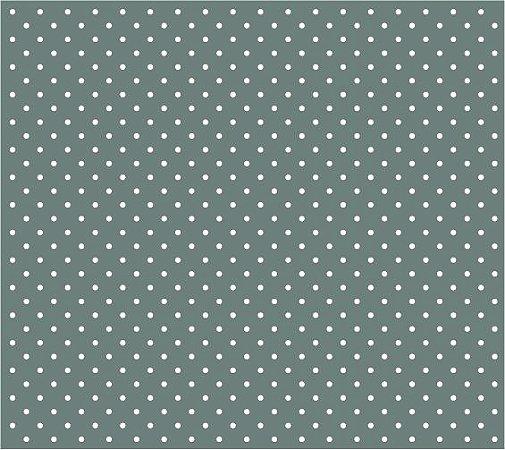 Tricoline Poá Pequeno (Branco Fundo Verde Acinzentado), 100% Algodão, Unid. 50cm x 1,50mt