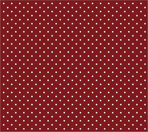 Tricoline Poá Pequeno (Branco Fundo Vermelho), 100% Algodão, Unid. 50cm x 1,50mt