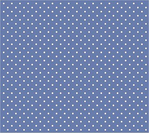 Tricoline Poá Pequeno (Branco Fundo Azul Celeste), 100% Algodão, Unid. 50cm x 1,50mt