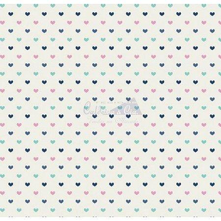 Tricoline Corações Amor - Cor 09 (Tiffany / Marinho / Rose), 100% Algodão, Unid. 50cm x 1,50mt