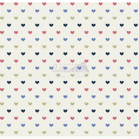 Tricoline Corações Amor - Cor 06 (Marinho / Rosa / Verde), 100% Algodão, Unid. 50cm x 1,50mt