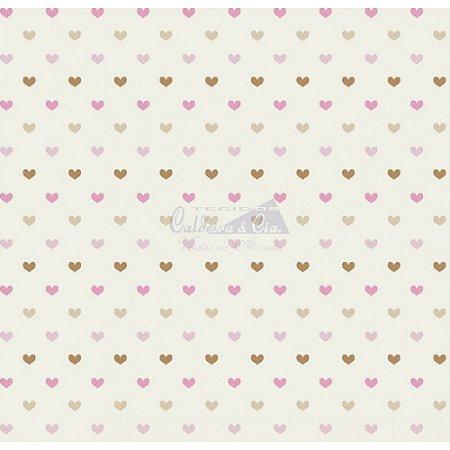 Tricoline Corações Amor - Cor 01 (Rosê / Bege), 100% Algodão, Unid. 50cm x 1,50mt