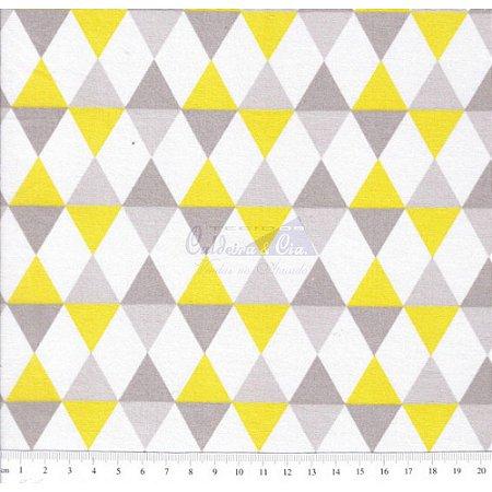 Tricoline Estampado Balão - Cor 03 (Amarelo com Cinza), 100% Algodão, Unid. 50cm x 1,50mt