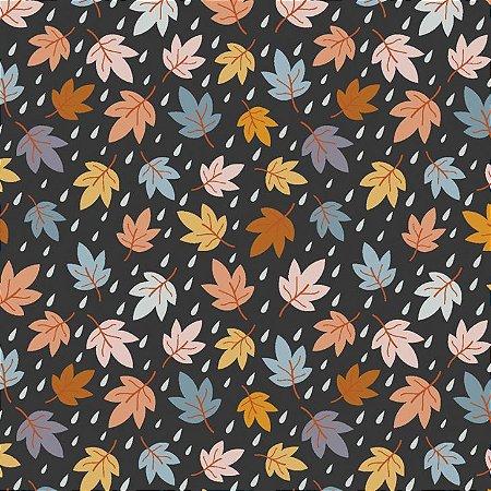 Tricoline Mini Fall Leaves, 100% Algodão, 50cm x 1,50mt