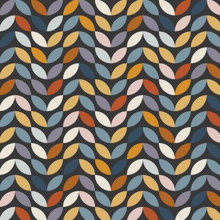Tricoline Dark Geometric Petals, 100% Algodão, 50cm x 1,50mt