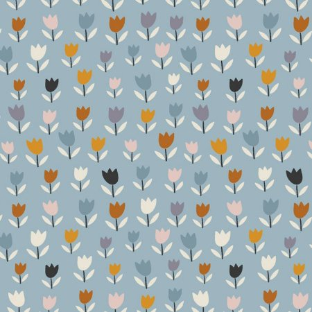 Tricoline Mini Blue Tulips, 100% Algodão, 50cm x 1,50mt