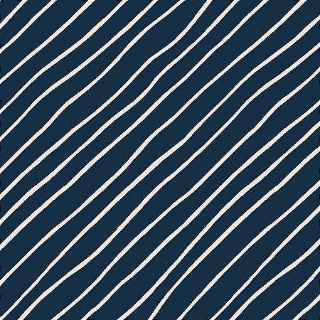 Tricoline Night Blue Diagonal, 100% Algodão, 50cm x 1,50mt